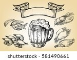icon with mug  beer  fish ... | Shutterstock .eps vector #581490661