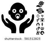 baby care hands icon with bonus ... | Shutterstock .eps vector #581512825
