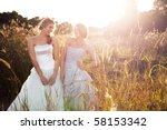 attractive young bride and... | Shutterstock . vector #58153342