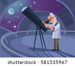 astronomer scientist character... | Shutterstock .eps vector #581535967