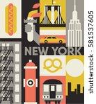 new york city  vector flat... | Shutterstock .eps vector #581537605