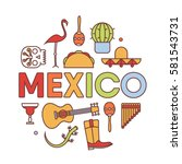 mexico  vector outline... | Shutterstock .eps vector #581543731