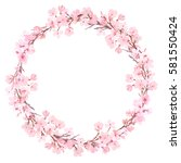 spring pink blossom watercolor... | Shutterstock . vector #581550424
