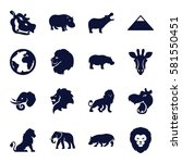 Africa Icons Set. Set Of 16...