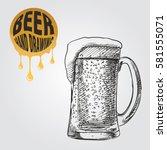beer in glass hand drawn sketch ...   Shutterstock .eps vector #581555071