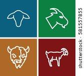 Goat Icons Set. Set Of 4 Goat...
