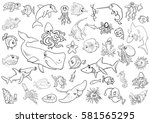 black and white cartoon... | Shutterstock .eps vector #581565295