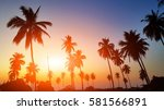 palms silhouettes at orange... | Shutterstock . vector #581566891