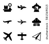 airplane icons set. set of 9... | Shutterstock .eps vector #581569015