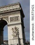 triumphal arch in paris  france | Shutterstock . vector #581571421