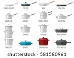 vector set of kitchen pots and... | Shutterstock .eps vector #581580961