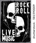 vintage rock and roll... | Shutterstock .eps vector #581590009