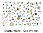 doodle objects funny set | Shutterstock .eps vector #581591581