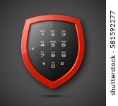shield with electronic... | Shutterstock .eps vector #581592277
