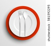 plate  spoon and fork isolated...   Shutterstock .eps vector #581592295