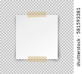 office paper sheet pin on... | Shutterstock .eps vector #581593381