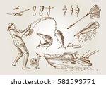 sea fishing. outline   Shutterstock .eps vector #581593771