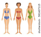 set of young woman in swimsuits.... | Shutterstock .eps vector #581607115