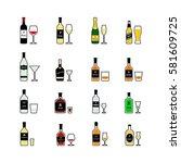 alcoholic drinks  bottles and... | Shutterstock .eps vector #581609725