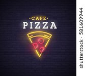 Pizza Logo  Emblem. Pizza Neon...