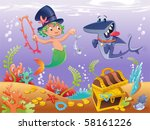triton with shark with... | Shutterstock .eps vector #58161226