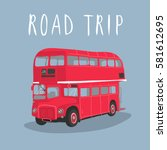 double decker red bus vector...