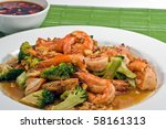 fried broccoli with prawn . | Shutterstock . vector #58161313