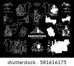 vector set of calligraphic... | Shutterstock .eps vector #581616175