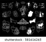vector set of calligraphic... | Shutterstock .eps vector #581616265
