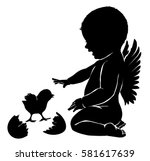 silhouettes angel baby and... | Shutterstock .eps vector #581617639