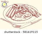 hand drawn breakfast... | Shutterstock .eps vector #581619115