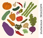 collection of vegetables.... | Shutterstock . vector #581622694