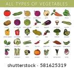 vegetables isolated set.... | Shutterstock .eps vector #581625319