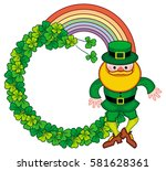 round frame with shamrock and... | Shutterstock .eps vector #581628361