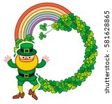 round frame with shamrock and... | Shutterstock .eps vector #581628865