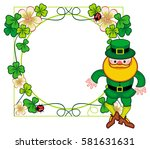 round frame with shamrock and... | Shutterstock .eps vector #581631631