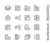 set line icons of insulation... | Shutterstock . vector #581633311