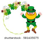 round frame with shamrock and... | Shutterstock .eps vector #581635075