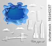 buildings  clouds  birds of new ... | Shutterstock .eps vector #581642257