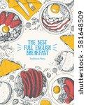 english breakfast top view... | Shutterstock .eps vector #581648509