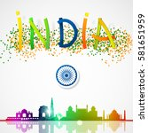 india lettering skyline with... | Shutterstock .eps vector #581651959