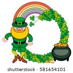 round frame with shamrock ... | Shutterstock .eps vector #581654101