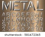 metal font typeface beveled set ...   Shutterstock .eps vector #581672365
