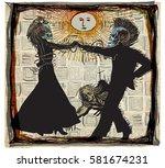 noon dancers  voodoo night   an ... | Shutterstock .eps vector #581674231