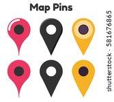 map pin set  colorful flat...