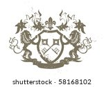 grunge heraldic shield with... | Shutterstock . vector #58168102