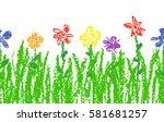 wax crayon kid s hand drawn... | Shutterstock .eps vector #581681257
