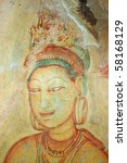 fresco at sigiriya rock... | Shutterstock . vector #58168129
