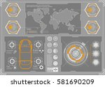 hud background outer space.... | Shutterstock .eps vector #581690209