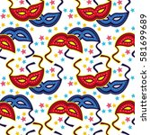 seamless pattern with carnival... | Shutterstock .eps vector #581699689